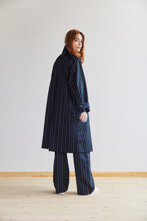 Amaury Coat in Green, Navy and White Stripe