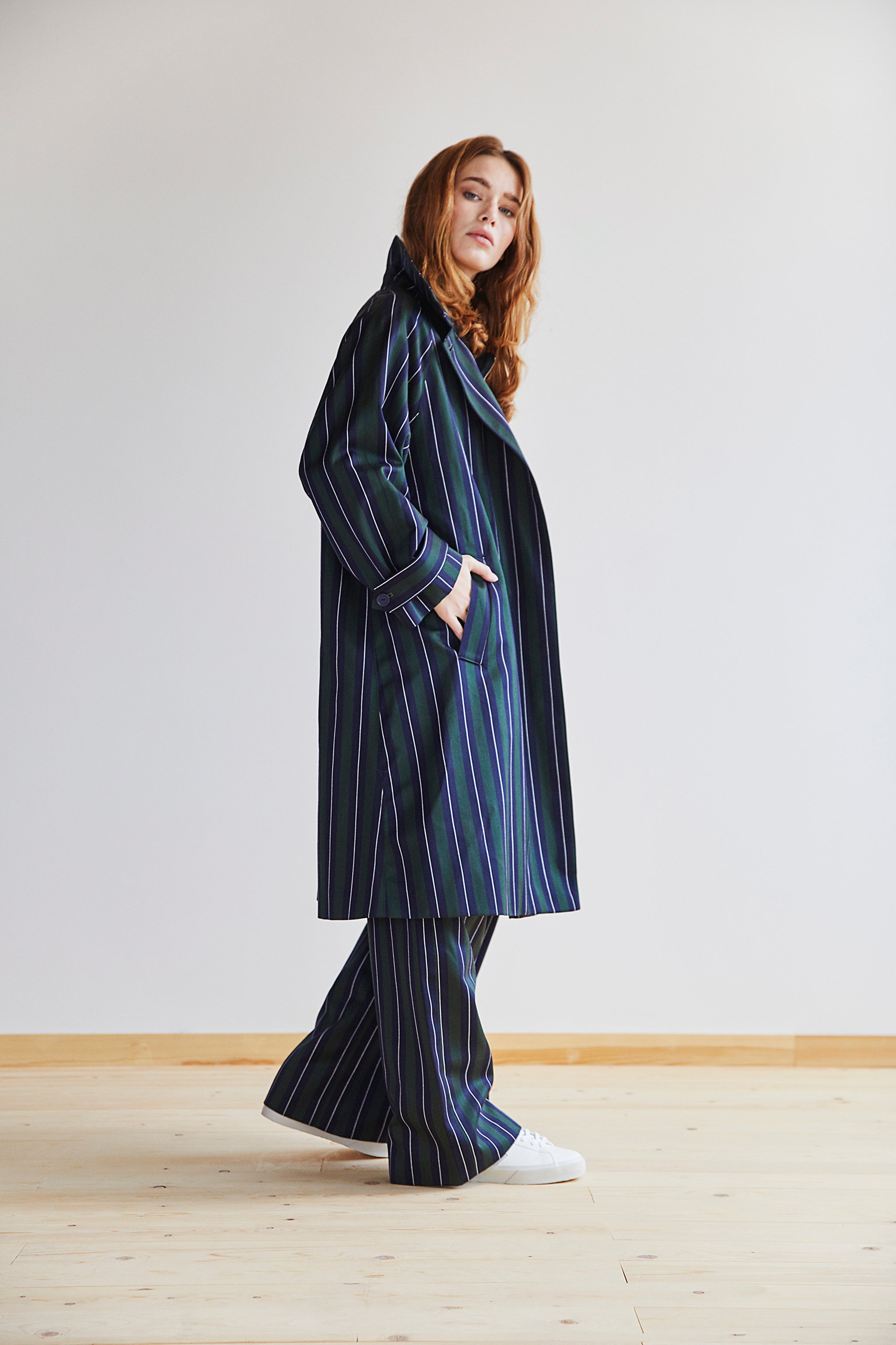 Amaury Coat in Green, Navy and White Stripe - Alice Early