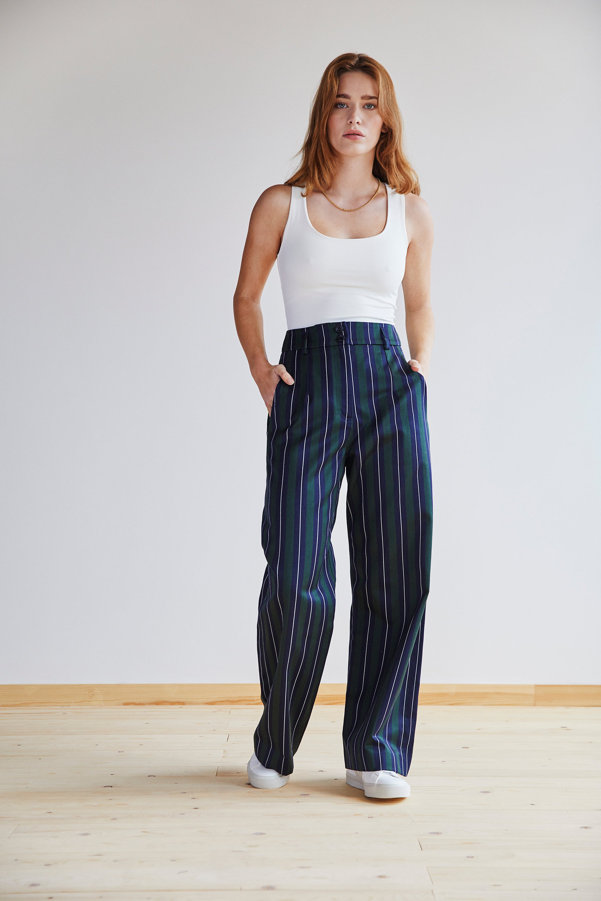 Jessie Trouser in Green, Navy and White Stripe - Pre Order