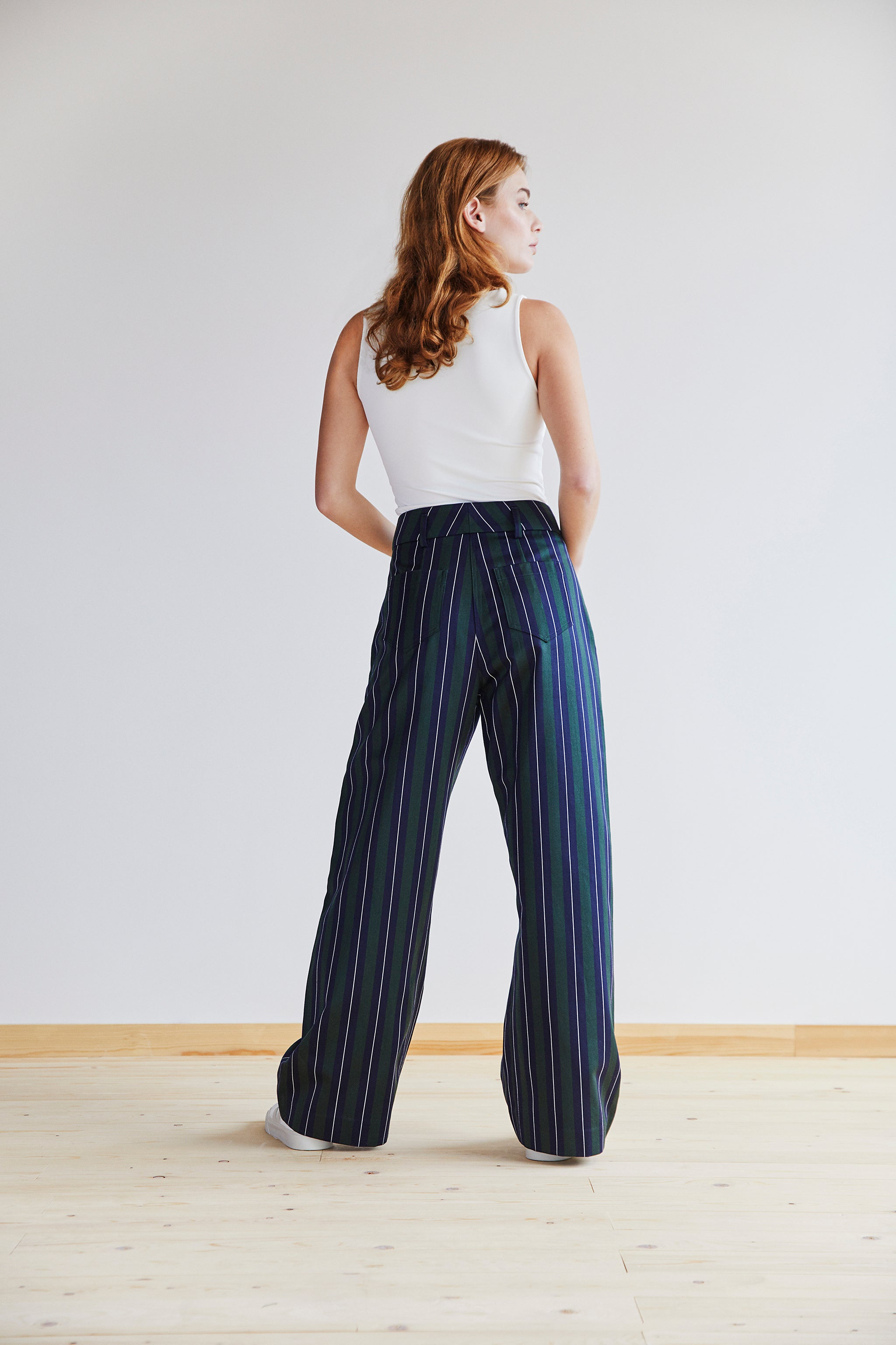 Jessie Trouser in Green, Navy and White Stripe - Alice Early