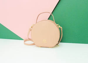 Round Shoulder Handbag - Nude