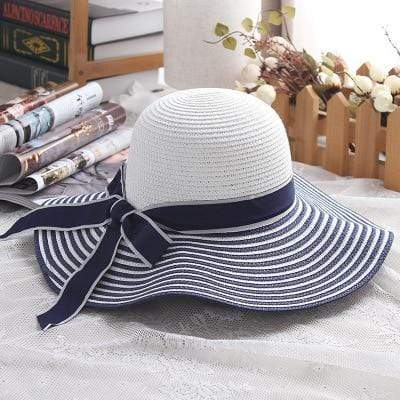 Reppit Hats Blue/White / About 56-58cm Striped Bow Summer Hat
