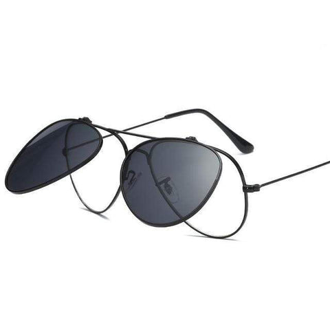 Reppit Sunglasses Black Polarised Aviation Flips