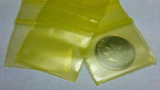 "12510-S Original Mini Ziplock 2.5mil Plastic Bags 1.25"" x 1"" Reclosable Baggies (Yellow) - The Baggie Store"