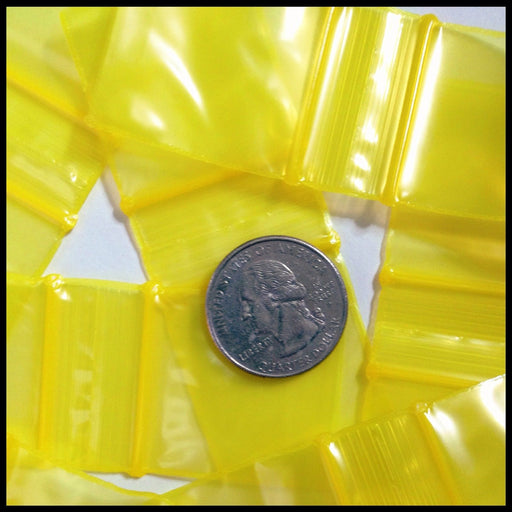 "125125 Original Mini Ziplock 2.5mil Plastic Bags 1.25"" x 1.25"" Reclosable Baggies (Yellow) - The Baggie Store"