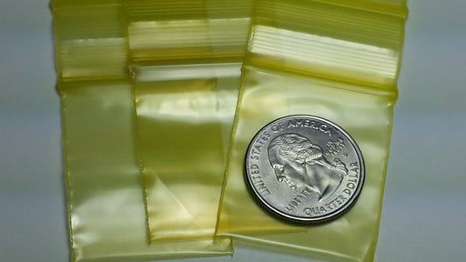 "12515 Original Mini Ziplock 2.5mil Plastic Bags 1.25"" x 1.5"" Reclosable Baggies (Yellow) - The Baggie Store"