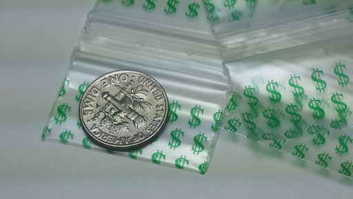 "12534 Original Mini Ziplock 2.5mil Plastic Bags 1.25"" x 3/4"" Reclosable Baggies (Dollar Sign $) - The Baggie Store"