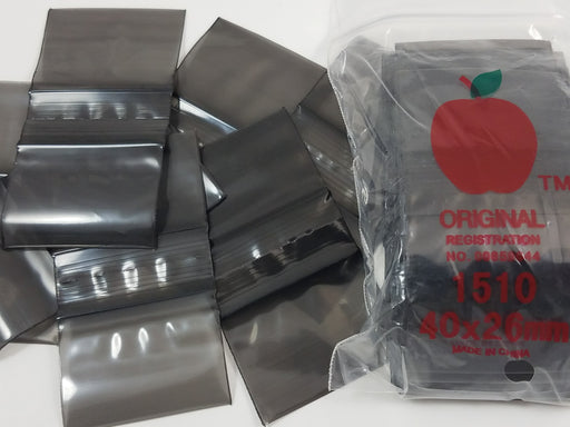 "1510 Original Mini Ziplock 2.5mil Plastic Bags 1.5"" x 1"" Reclosable Baggies (Black) - The Baggie Store"