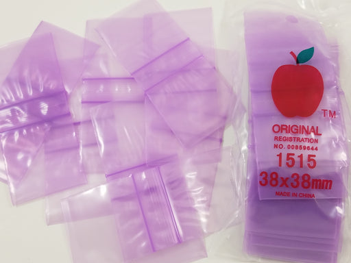 "1515 Original Mini Ziplock 2.5mil Plastic Bags 1.5"" x 1"" Reclosable Baggies (Purple) - The Baggie Store"