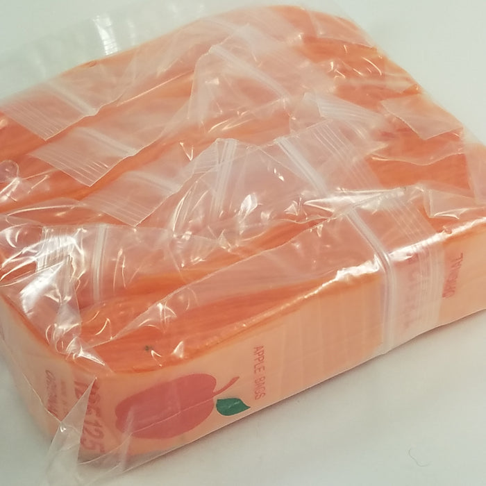 "125125 Original Mini Ziplock 2.5mil Plastic Bags 1.25"" x 1.25"" Reclosable Baggies (Orange) - The Baggie Store"