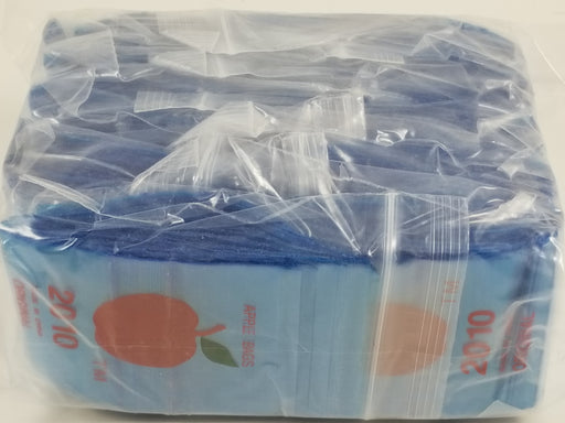 "2010 Original Mini Ziplock 2.5mil Plastic Bags 2"" x 1"" Reclosable Baggies (Blue) - The Baggie Store"