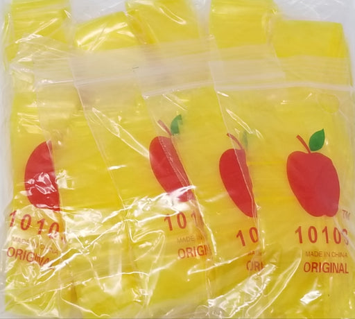 "1010-S Original Mini Ziplock 2.5mil Plastic Bags 1"" x 1"" Reclosable Baggies (Yellow) - The Baggie Store"