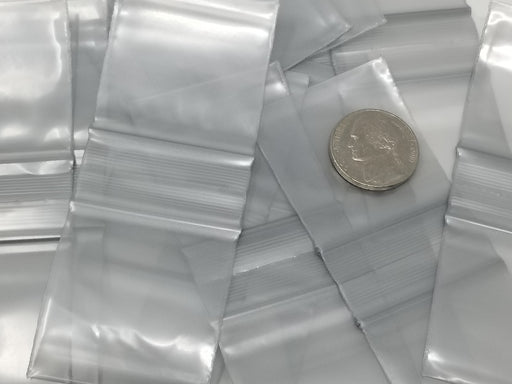 "1515 Original Mini Ziplock 2.5mil Plastic Bags 1.5"" x 1"" Reclosable Baggies (Silver) - The Baggie Store"