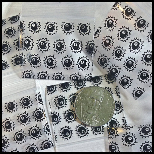 "1515 Original Mini Ziplock 2.5mil Plastic Bags 1.5"" x 1"" Reclosable Baggies (8 Ball) - The Baggie Store"