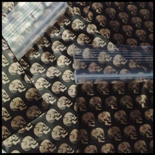 "3030 Original Mini Ziplock 2.5mil Plastic Bags 3"" x 3"" Reclosable Baggies (Gold Skulls) - The Baggie Store"
