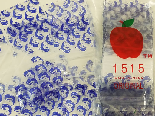 "1515 Original Mini Ziplock 2.5mil Plastic Bags 1.5"" x 1"" Reclosable Baggies (Dolphin) - The Baggie Store"