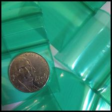 "12510 Original Mini Ziplock 2.5mil Plastic Bags 1.25"" x 1"" Reclosable Baggies (Green) - The Baggie Store"