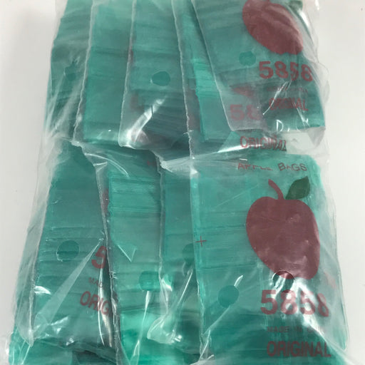 "5858 Original Mini Ziplock 2.5mil Plastic Bags 5/8"" x 5/8"" Reclosable Baggies (Green) - The Baggie Store"