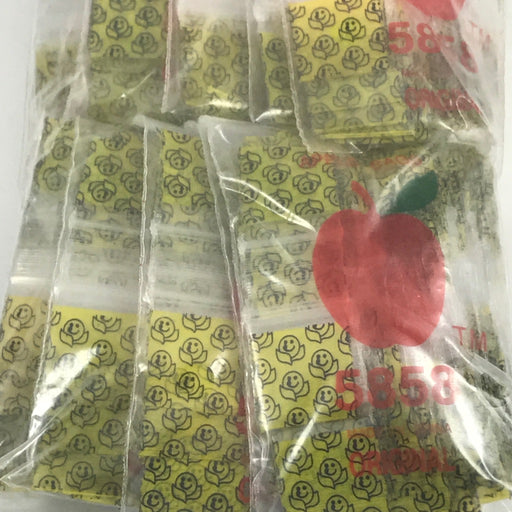 "5858 Original Mini Ziplock 2.5mil Plastic Bags 5/8"" x 5/8"" Reclosable Baggies (Happy Face) - The Baggie Store"