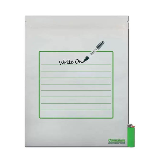 Mylar Storage Bag, White/Clear with Writable Area, 1 lbs - The Baggie Store