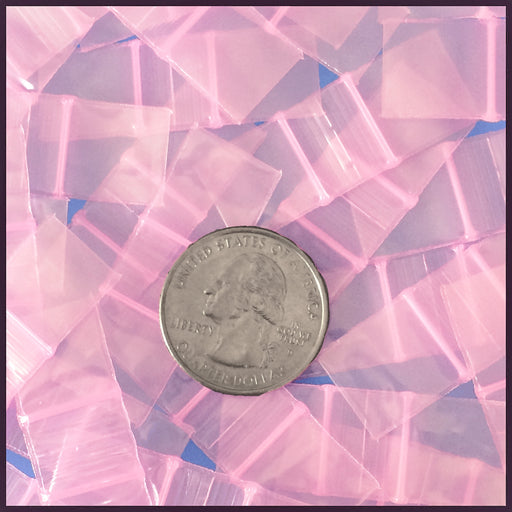 "5858-S Original Mini Ziplock 2.5mil Plastic Bags 5/8"" x 5/8"" Reclosable Baggies (Pink) - The Baggie Store"