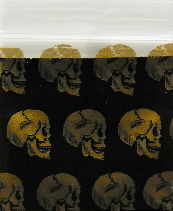 "1212 Original Mini Ziplock 2.5mil Plastic Bags 1/2"" x 1/2"" Reclosable Baggies (Gold Skulls) - The Baggie Store"
