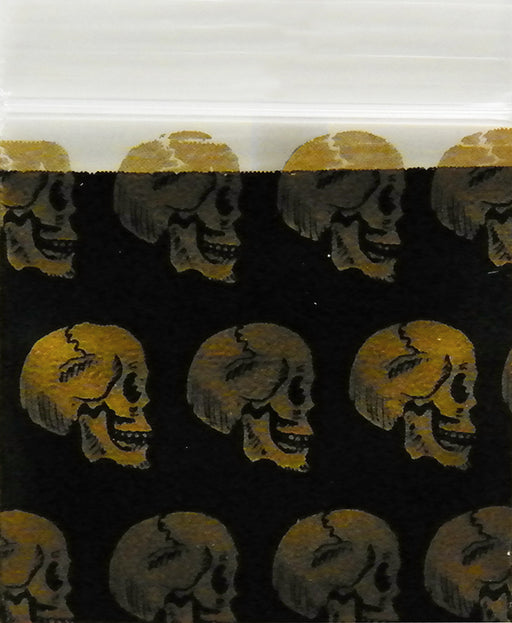 "2030 Original Mini Ziplock 2.5mil Plastic Bags 2"" x 3"" Reclosable Baggies (Gold Skulls) - The Baggie Store"