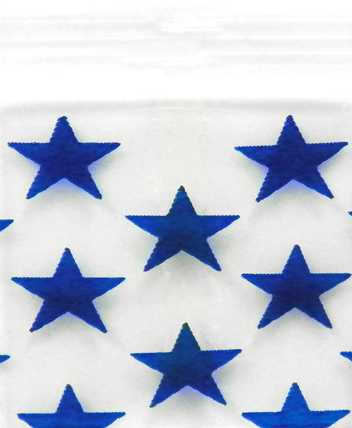 "5858 Original Mini Ziplock 2.5mil Plastic Bags 5/8"" x 5/8"" Reclosable Baggies (Blue Stars) - The Baggie Store"