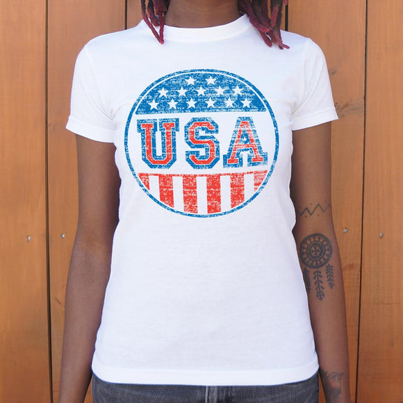 USA Campaign Button T-Shirt (Ladies)
