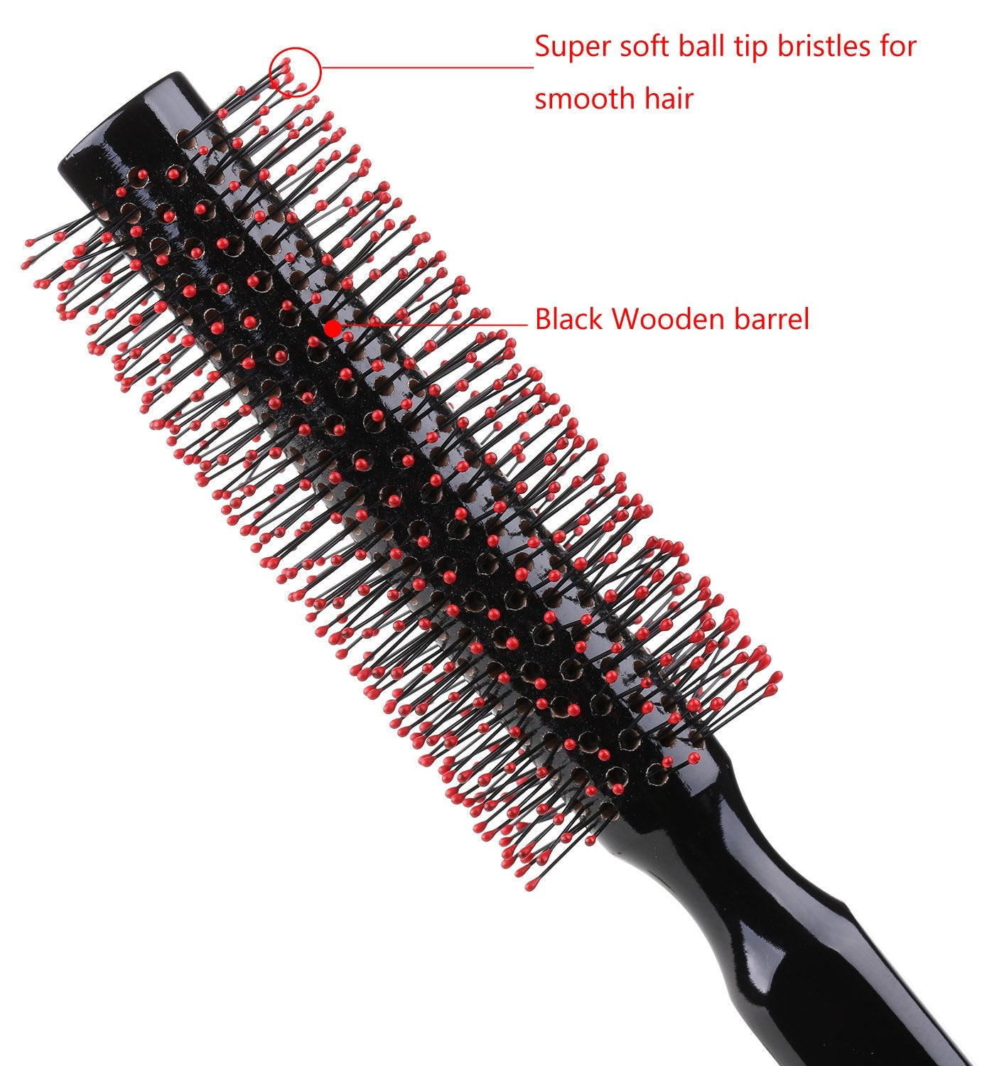 Small Round Hair Brush for Blow Drying with Soft Nylon Bristles-Wooden Handle
