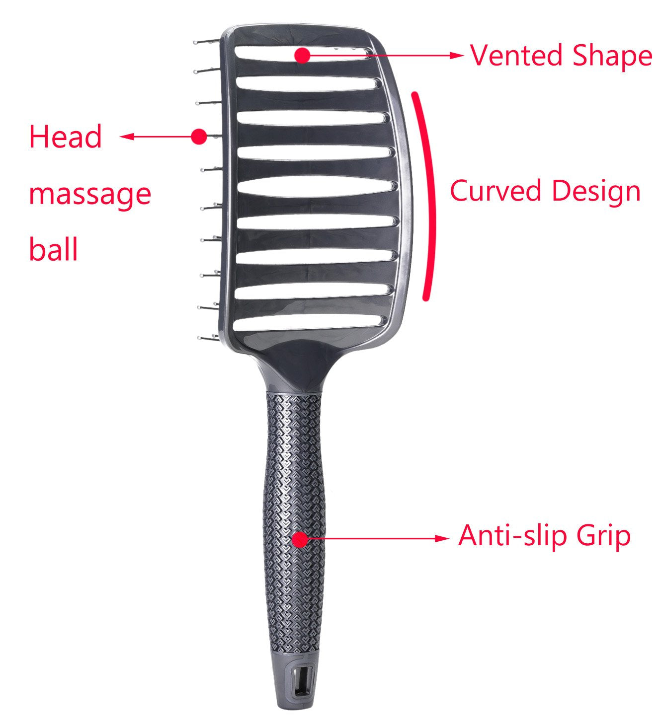 Curved Vent Brush, Barber Blow Drying Brush with Nylon Detangling Pins