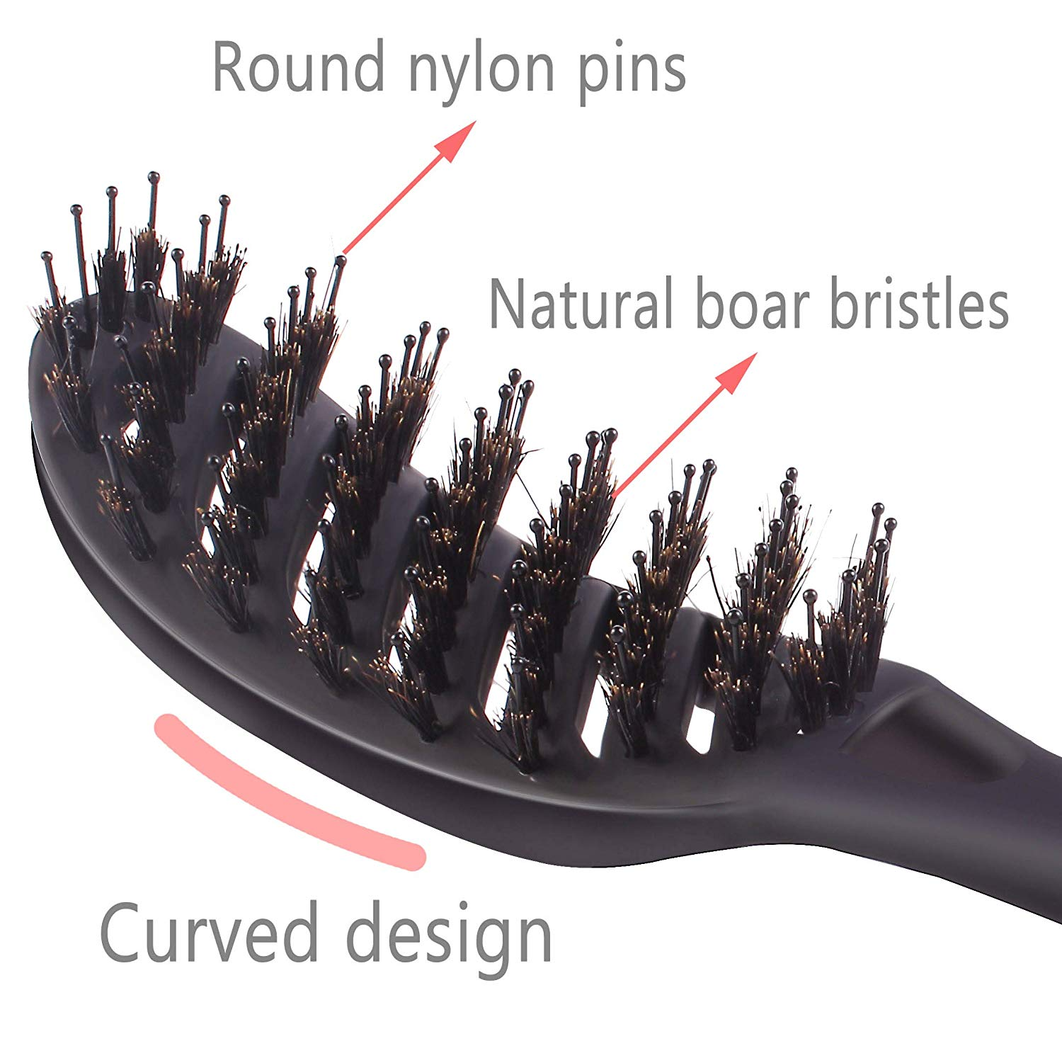 Boar Bristle Vented Hair Brush, Curved Detangling Blow Drying Brush