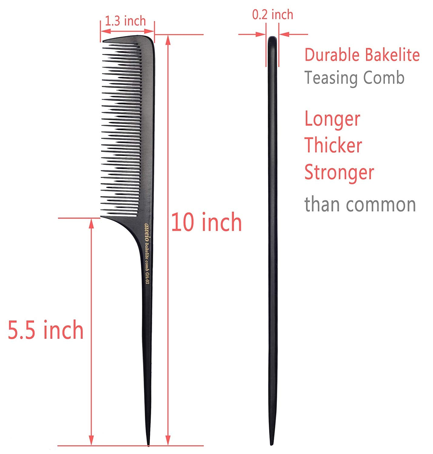 Anti-static Bakelite Rat Tail Comb Tool for Back Combing