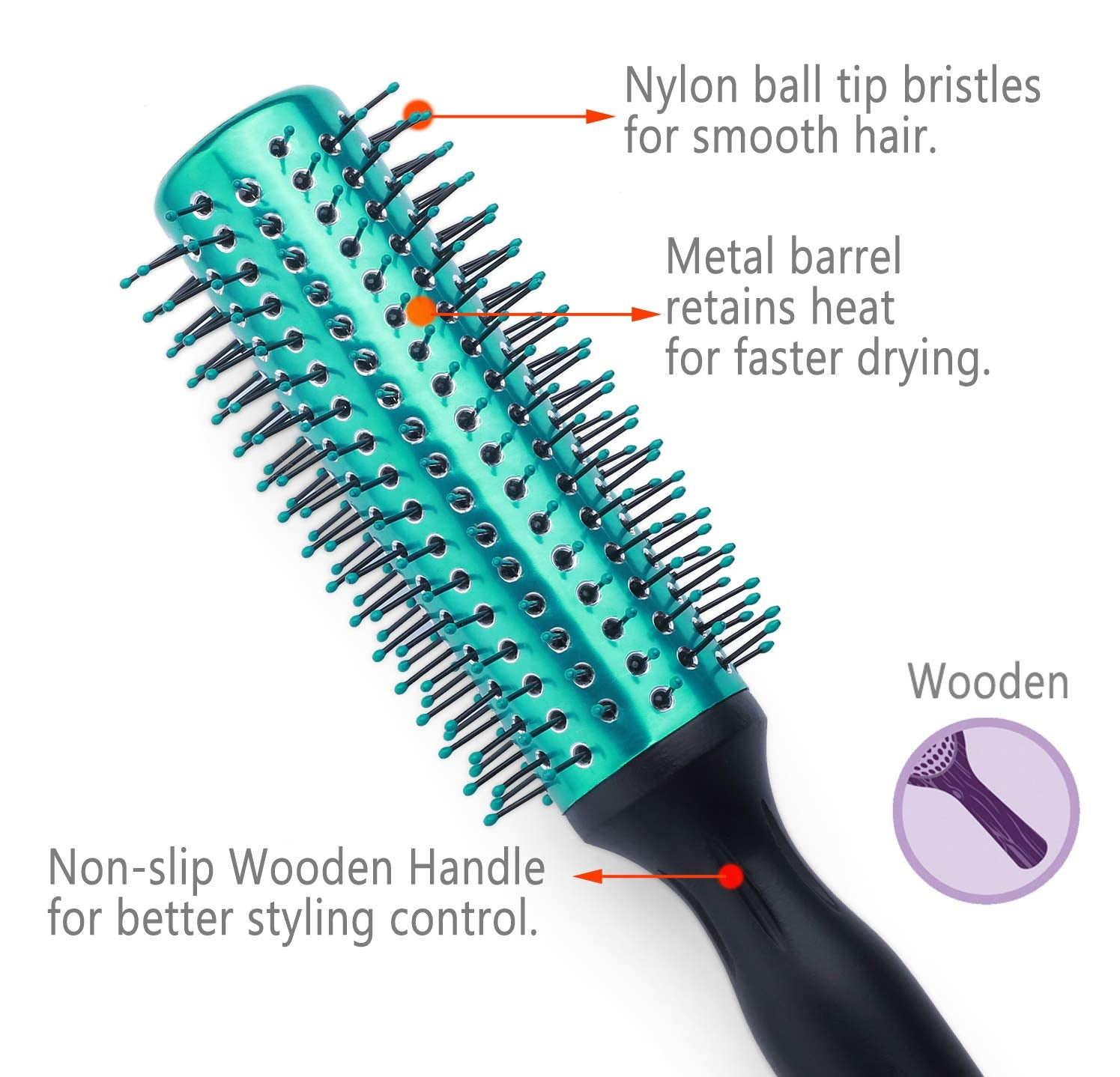 Round Hair Brush Blow Drying Curling Hair Brush with Nylon Bristles