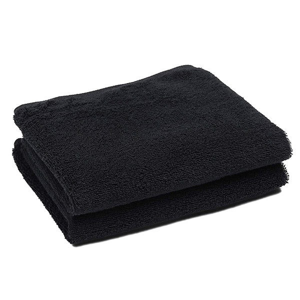 Black Salon Towels (2-Pack, 16 X 27 Inches)-Barber Hand Cotton Towel for Gym