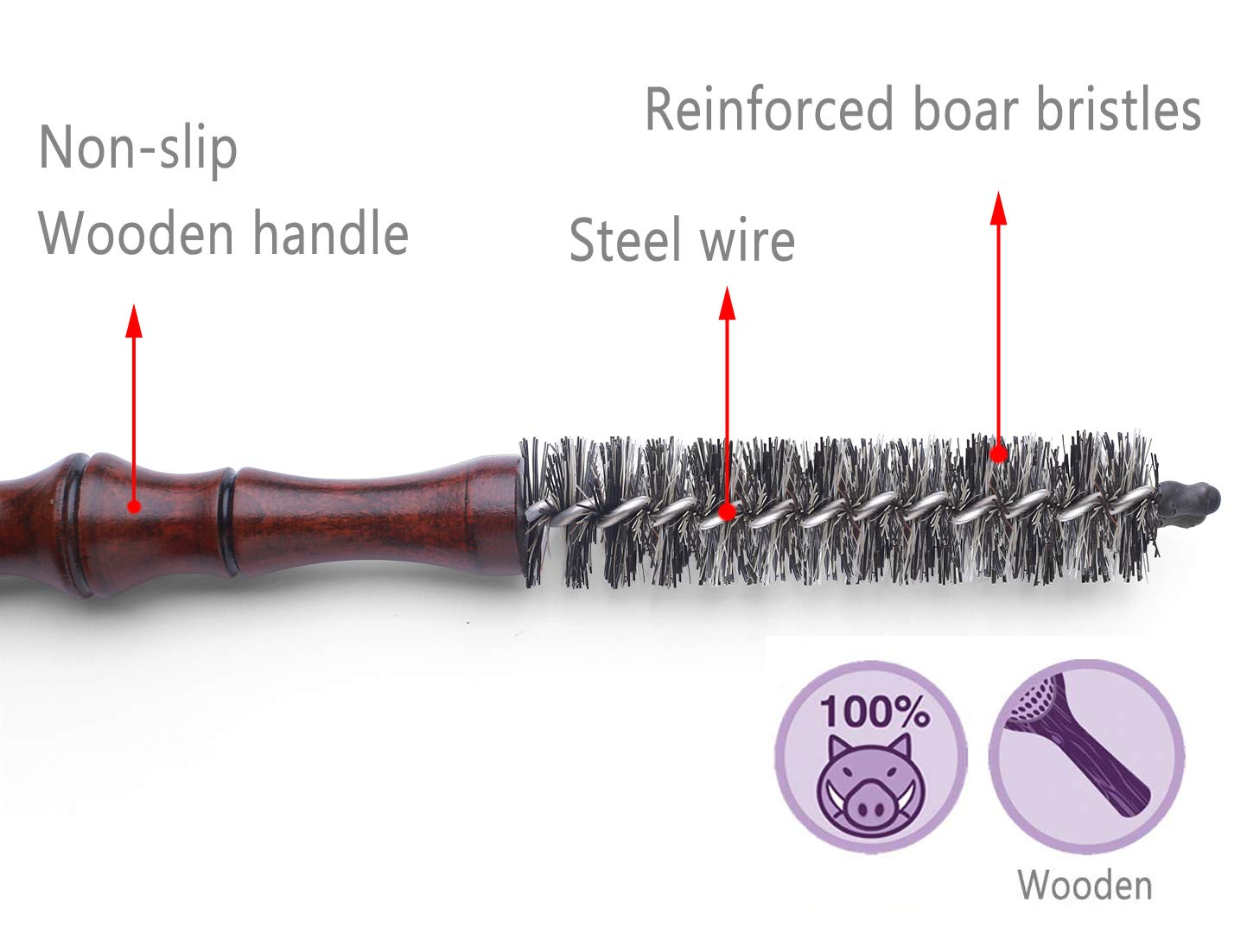 Mini Boar Bristle Round Brush for Short Hair