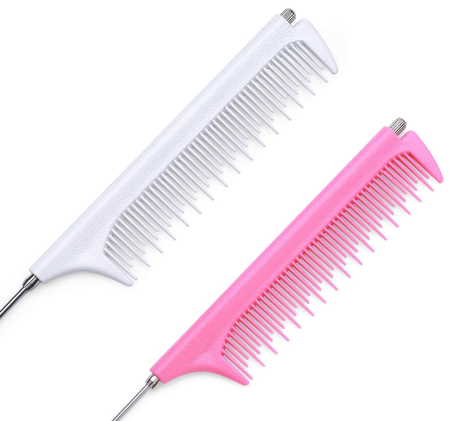 Retractable Pintail Combs (2 Pack)-Metal Rat Tail Hair Combs for Women Styling