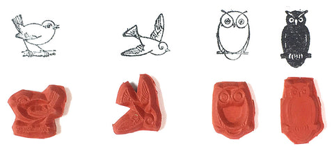 Rubber Stamp - Small Birds and Owls Set Graphic Images