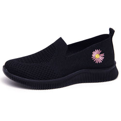 Damen Schick Blumenstickerei Slip On Flach Sneakers