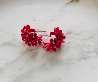 Flower Hoops Fuschia