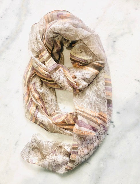 Peach and Lilac Autumnal Print Scarf