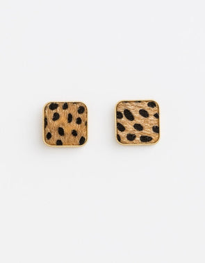 Damsel Cheetah Square Earrings
