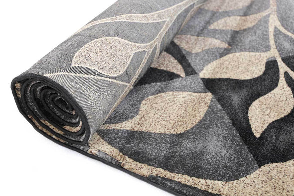 Seca Black leaves Rug