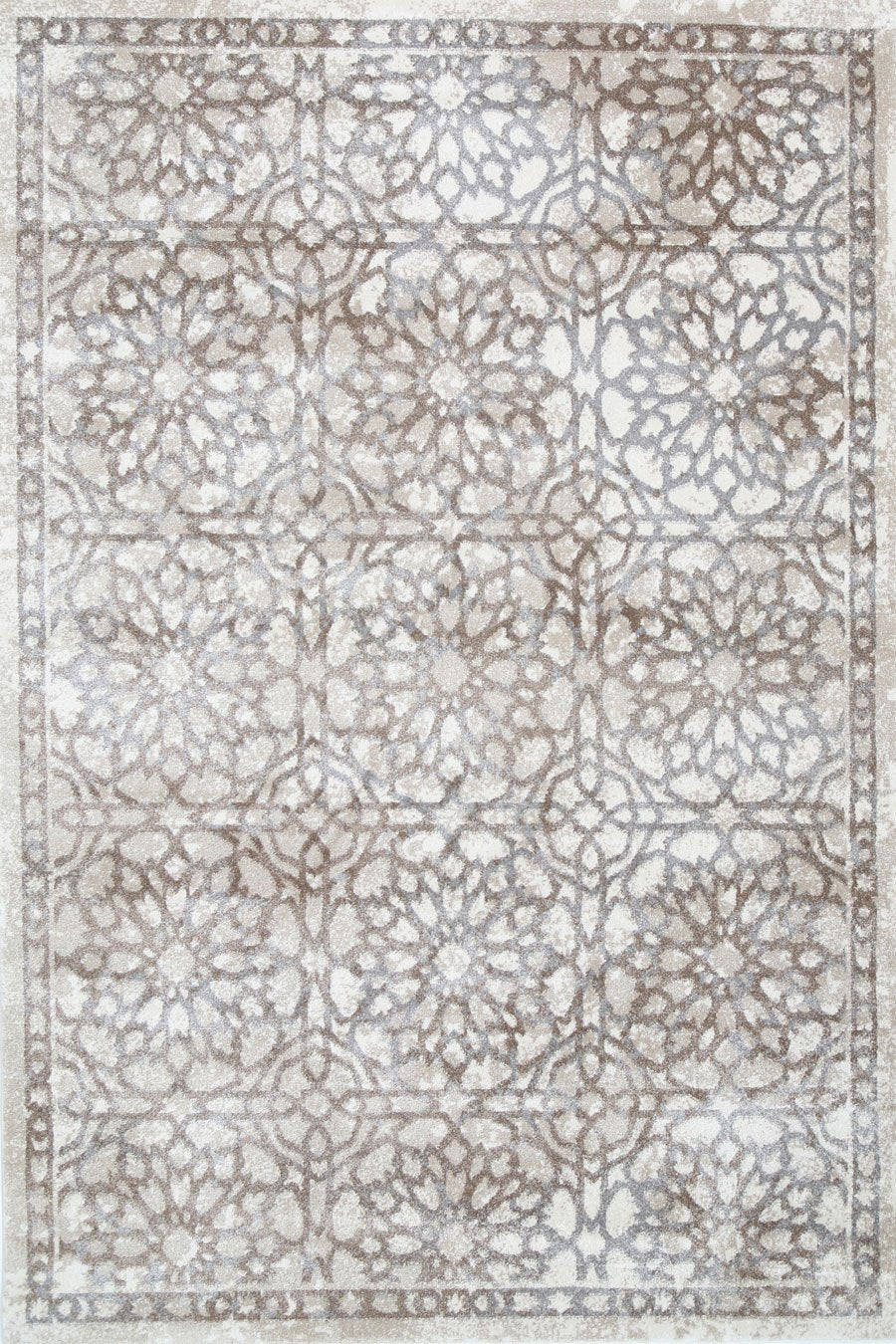 Morisot Grey and Beige Demask Rug