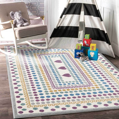 Piccolo Multi Colour and Pink Polka Dot Love Heart Kids Rug