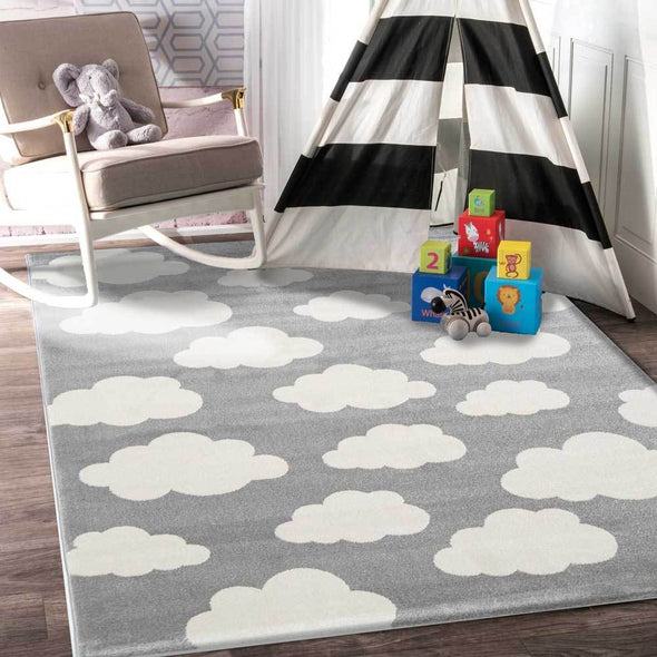 Piccolo  Grey White  Cloud Kids Rug