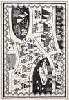 Piccolo Black and White Kids Camping Adventure Kids Rug