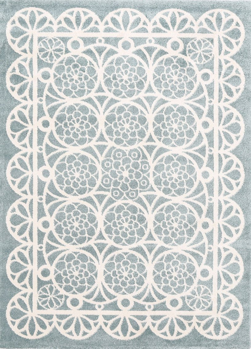 Piccolo  Aqua White Doily Kids Rug