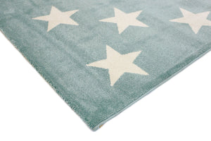 Piccolo Aqua White Stars Kids Rug