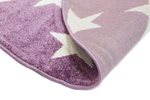 Piccolo Violet Pink and White Stars Kids Rug